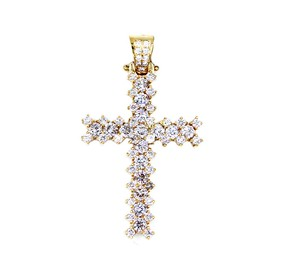 Unique Jewelry 14K Yellow Gold Diamond Cross Pendant 5.50CT