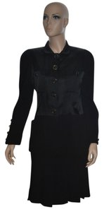 Chanel CHANEL BOUTIQUE Black Suit Blazer/Jacket+Pleated Skirt Wool & Satin si