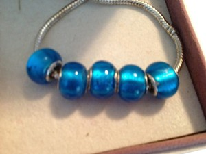 Other SET OF 5 ~~European Style Murano Lampwork Glass Beads, 4mm hole, A Beautiful Blue!