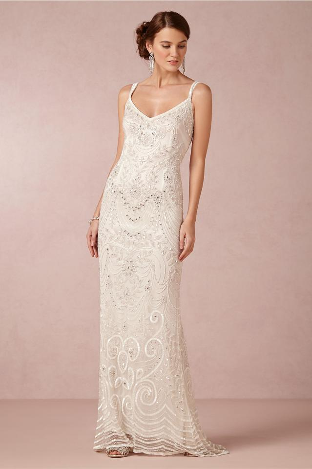 Theia ivory beaded elsa art deco bridal gown with overskirt 12345678 junglespirit Images