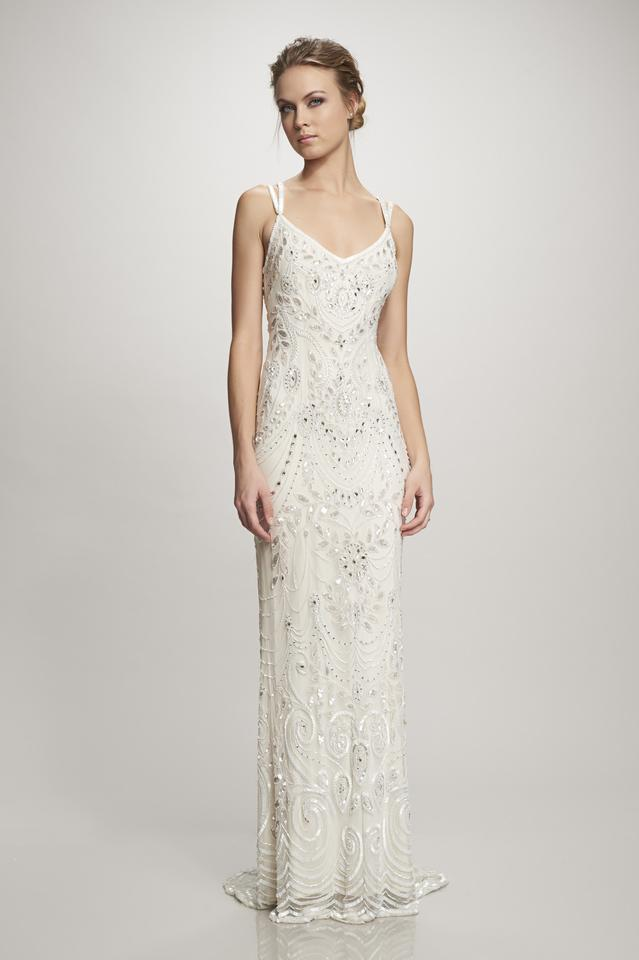Theia Ivory Beaded Elsa Art Deco Bridal Gown with Overskirt Vintage ...