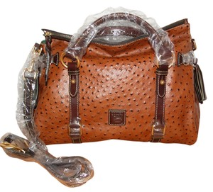 Dooney & Bourke Med/lg Leather Emb Tassels Satchel in Cognac