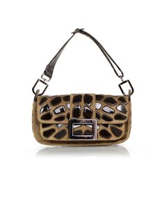 Roger Vivier Suede Patent Leather Small Shoulder Bag