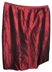 Ann Taylor Rose Beaded Skirt Red