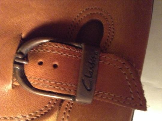 Clarks Tanned Leather Mules