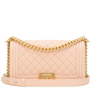 Chanel Caviar Boy Beige Cc Shoulder Bag