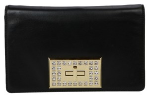 Michael Kors Leather Jeweled Clasp Black Clutch