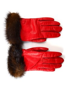 Fendi Fendi Red Leather and Mink Gloves Sz 7