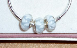 Bella & Chloe SET OF 5 ~~European Style Murano Lampwork Glass Beads, 4mm hole, A Beautiful Set that goes With Everything!