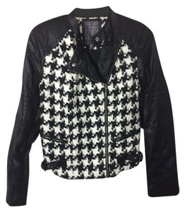 Guess Leather Houndstooth Zip-up black Leather Jacket