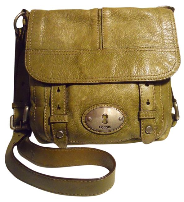 Item - Pebbled Olive Green Leather Cross Body Bag