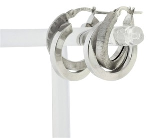 Vintage Double Hoop Earrings- 14k White Gold