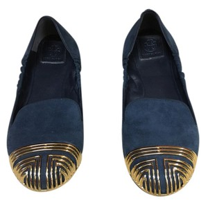 Tory Burch Navy and gold Flats