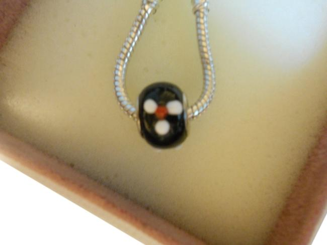 Item - Black with White/Red Flower 1 European Style Murano Lampwork Glass Bead 4mm Hole Charm