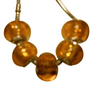 Bella & Chloe SET OF 5 ~European Style Murano Lampwork Glass Beads, 4mm hole, A Beautiful Clear Orange-Gold!