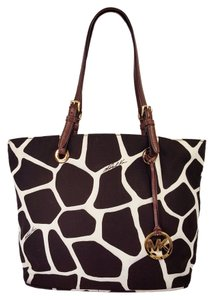 Michael Kors Shoulder Printed Canvas Tote in Brown