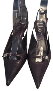 Dior Slingback Quilted Chocolate Brown Pumps