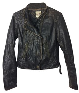 Hydraulic Leather Zip-up brown Leather Jacket