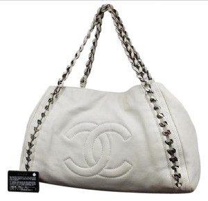 Chanel Woven Interlaced Shoulder Shopper Hobo Bag