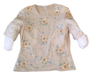 Escada Vintage Embroidered Delicate Top Ecru