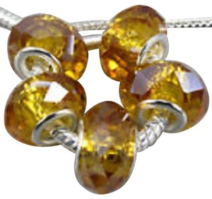 Bella & Chloe SET OF 5 ~~European Style Murano Lampwork Glass Beads, 4mm hole, A Beautiful Golden Yellow!