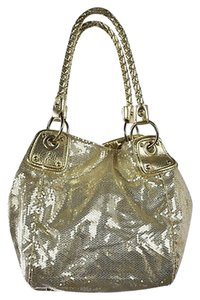 abro Womens Sequined Metallic Purse Handbag Casual Satchel in Gold