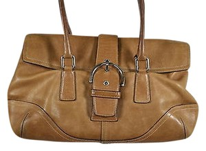 Coach Womens Textured Leather Handbag Satchel in Tan