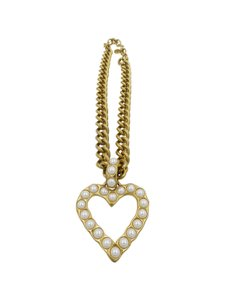 Givenchy Givenchy Gold Tone Heart with Pearl Accent Pendant Necklace