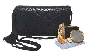 Judith Leiber Embroidered Embroidered Leather Leather Tassel navy blue Clutch