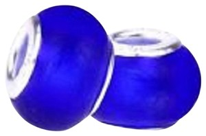 Bella & Chloe SET OF 5 European Style Murano Lampwork glass Beads, Deep Blue with 4mm hole.