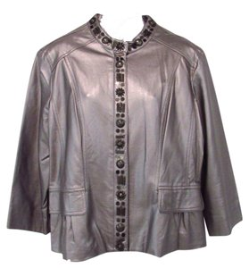 Ruby Rd. Rd 3/4 Sleeve Silver Jacket