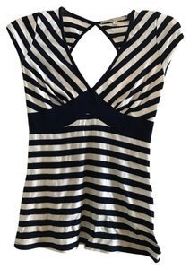 Hot Kiss Striped Open Back Sexy Top Navy & White