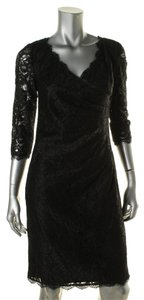 Adrianna Papell Lace 3/4 Sleeves Pleated Dress