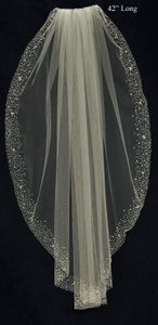 J.L. Johnson Bridals White Wedding Veil With Heavy Beaded Border