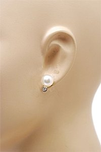 Mikimoto MIKIMOTO Cultured Pearl White South Sea 10mm Pearl Earrings w/Diamonds