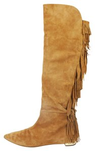 Aquazzura Fringe Suede Tall Brown Boots