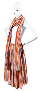Lanvin Vintage Striped Knit Pleated Midi With Scarf Skirt Multi-Color