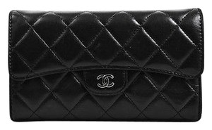 Chanel Chanel Black Leather Quilted Silver Tone Cc L Flap Wallet