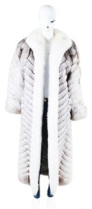 Other Georgio Alexandre Brown Fur Chevron Pointed Long Sleeve Coat