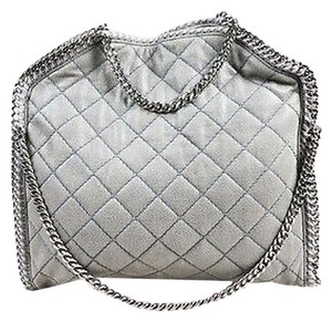 Stella McCartney Falabella Gunmetal Quilted Chainlink Handbag Satchel in Gray