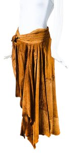 Saint Laurent Yves Cognac Suede Tassel Distressed Wrap Skirt Brown