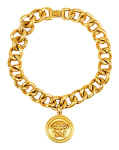 Versace Versace Gold Tone Medusa Pendant Chunky Chain Necklace