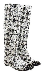 Chanel White Black Metallic Floral Tweed Cage Cap Toe Knee High Flat Multi-Color Boots