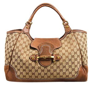 Gucci Light Beige Gg Monogram Canvas Leather New Pelham Shoulder Bag