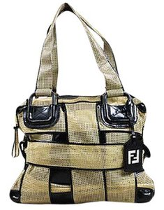 Fendi Mesh Patent Leather Crossword Grande Tote in Beige