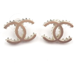 Chanel Chanel Gold CC Ruffle Edge Piercing Earrings