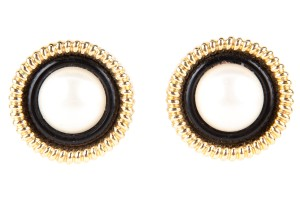 Chanel Chanel Vintage Circular Black & Gold Earrings w/ Pearl Center