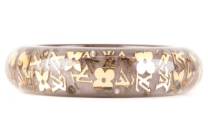 Louis Vuitton Louis Vuitton Taupe And Gold Clear Lucite Inclusion Bangle Bracelet