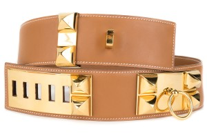 Hermès Hermes Gold Courchevel Leather Collier De Chien Belt