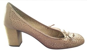 Nicole Chuncky Heal Leather Real Leather Lace Nude Pumps
